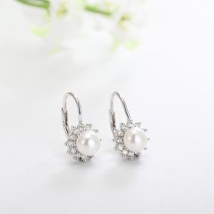 Cercei argint rodiat Flower Pearl [1]