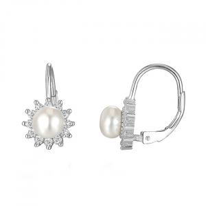Cercei argint rodiat Flower Pearl [0]