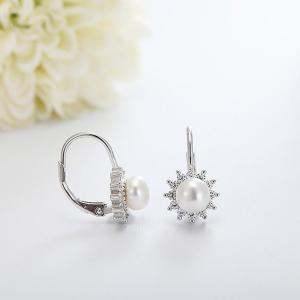 Cercei argint rodiat Flower Pearl [2]