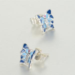 Cercei Butterfly Blue argint3