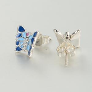 Cercei Butterfly Blue argint1