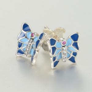 Cercei Butterfly Blue argint2