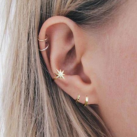 Cercel argint placat cu aur Ear Cuff Star0
