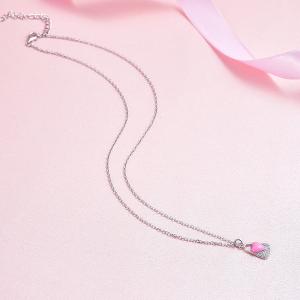 Colier argint rodiat Pink Heart Lock4