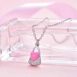 Colier argint rodiat Pink Heart Lock [1]
