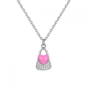 Colier argint rodiat Pink Heart Lock0