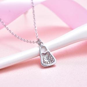 Colier argint rodiat Pink Heart Lock3