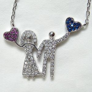 Colier argint rodiat placat cu aur Love Couple2