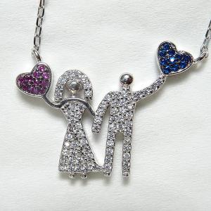 Colier argint rodiat placat cu aur Love Couple1