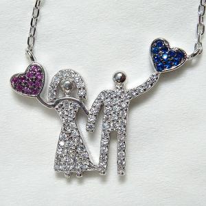 Colier argint rodiat placat cu aur Love Couple0