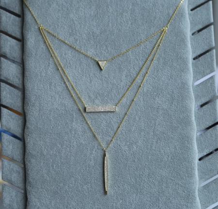 Colier Fashion 3 straturi din argint 925 placat cu aur 18K1
