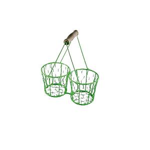 Cos impletit Verde cu maner lemn [0]