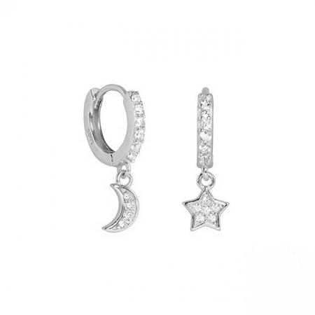 Cercei argint Star and Moon [2]