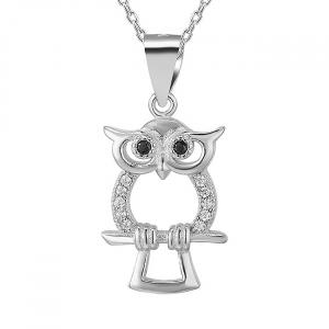 Pandantiv argint rodiat Owl0