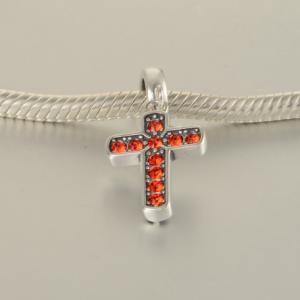 Pandantiv Cruce argint – cristale rosii [4]