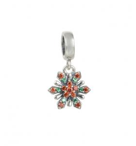 Pandantiv Red&Green Flower argint0