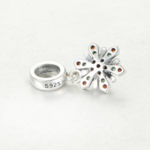 Pandantiv Red&Green Flower argint2