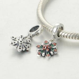 Pandantiv Red&Green Flower argint3