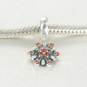 Pandantiv Red&Green Flower argint1