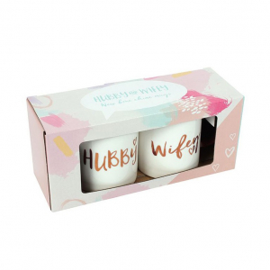 Set cadou 2 cani ceramice Hubby & Wifey2