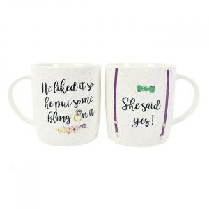Set cadou 2 cani ceramice She said yes0
