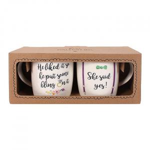 Set cadou 2 cani ceramice She said yes1