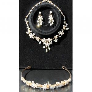 Set tiara, colier si cercei Gold Sparkle4
