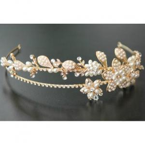 Tiara Gold Pearl Flowers5