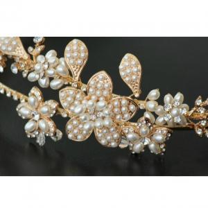 Tiara Gold Pearl Flowers1