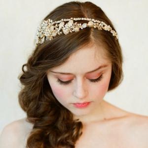 Tiara Gold Pearl Flowers7