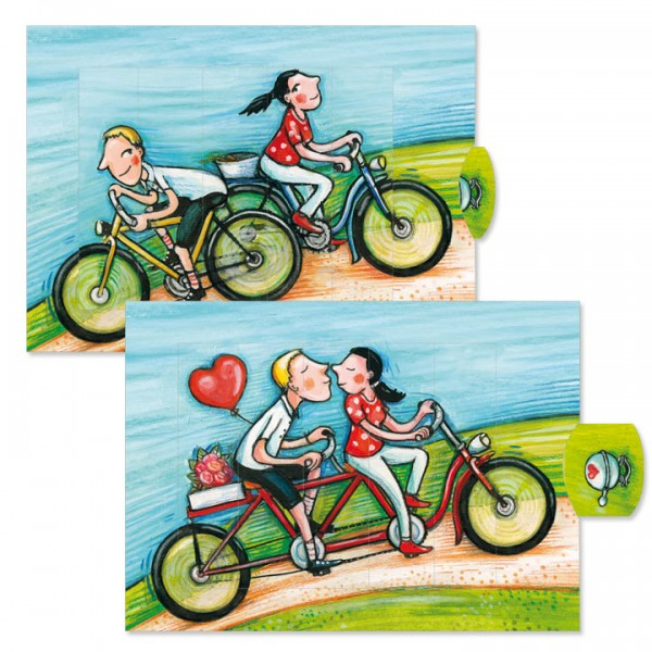 Felicitare animata - Indragostiti pe bicicleta