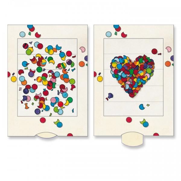 Felicitare animata - Inima din confetti
