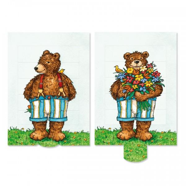Felicitare animata - Ursulet cu flori