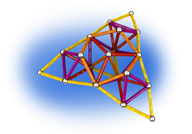 Geomag Color 127 piese - Galben, Portocaliu, Rosu si Mov 1