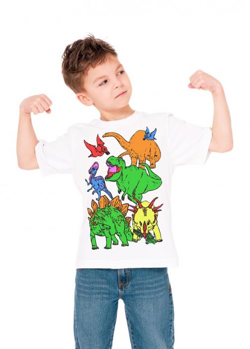 Tricou de colorat cu markere lavabile Dinozauri 2