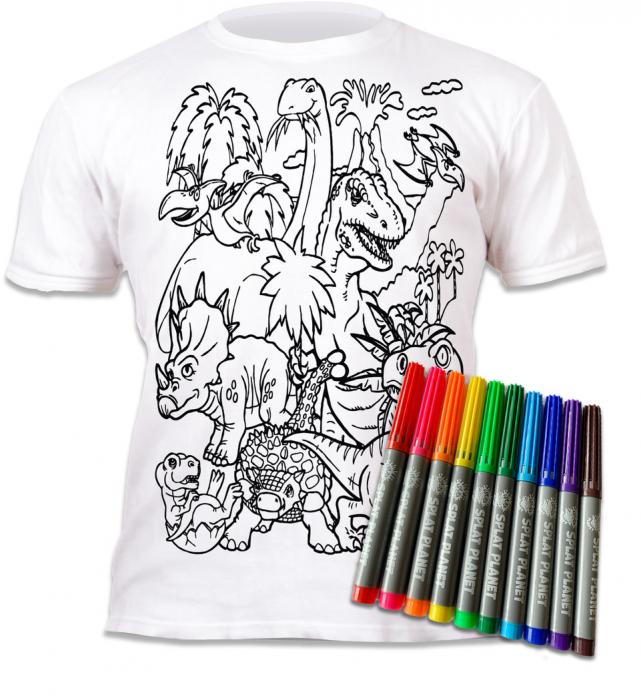 Tricou de colorat cu markere lavabile Dinozauri 1