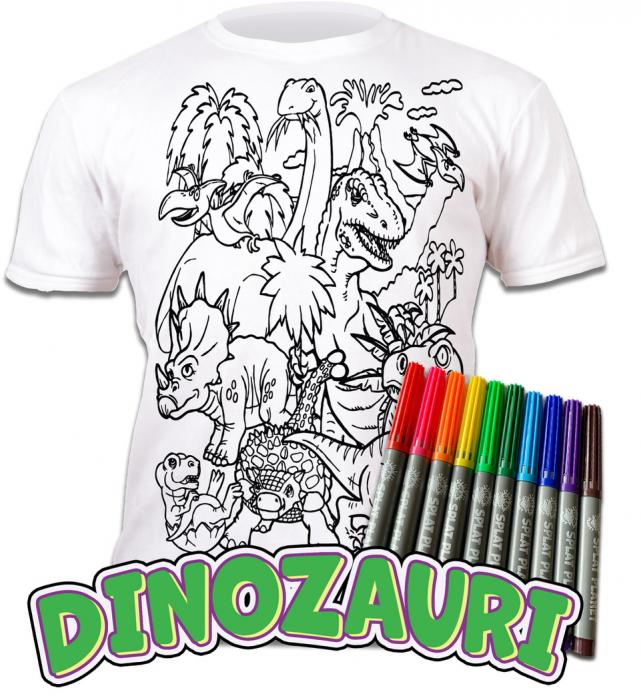 Tricou de colorat cu markere lavabile Dinozauri 0