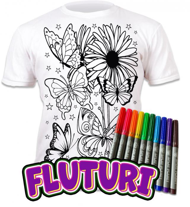 Tricou de colorat cu markere lavabile Fluturi 0