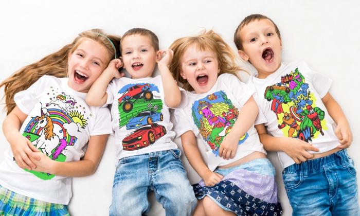 Tricou de colorat cu markere lavabile Fluturi 2