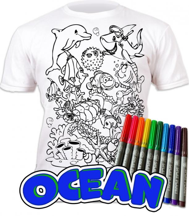 Tricou de colorat cu markere lavabile Ocean 0