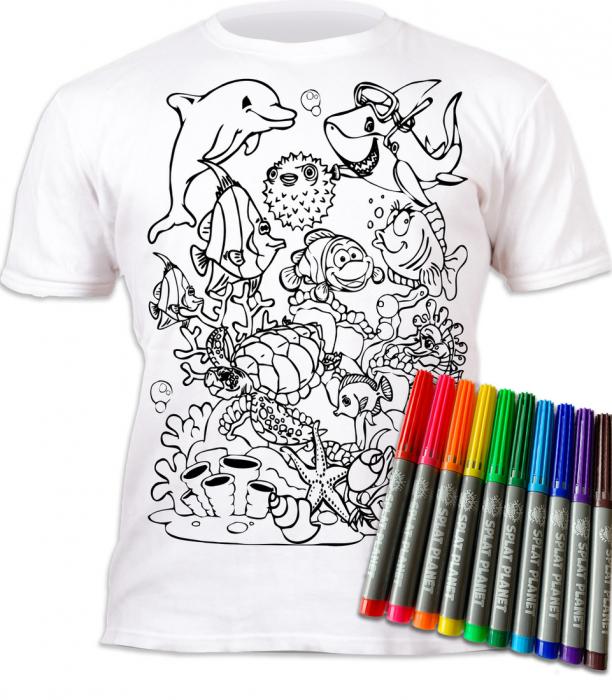 Tricou de colorat cu markere lavabile Ocean 1