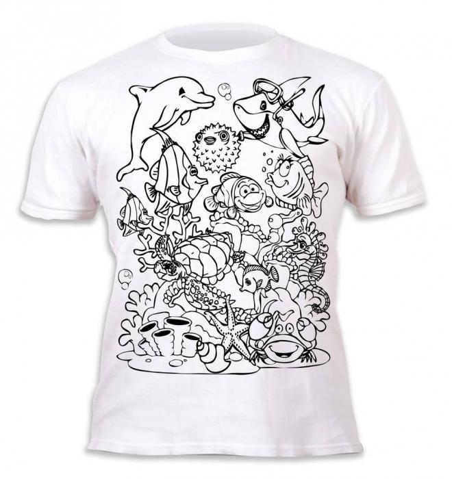 Tricou de colorat cu markere lavabile Ocean 2