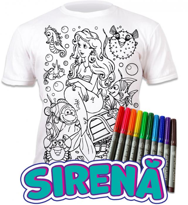 Tricou de colorat cu markere lavabile Sirena [0]