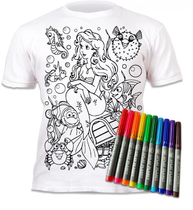 Tricou de colorat cu markere lavabile Sirena [1]