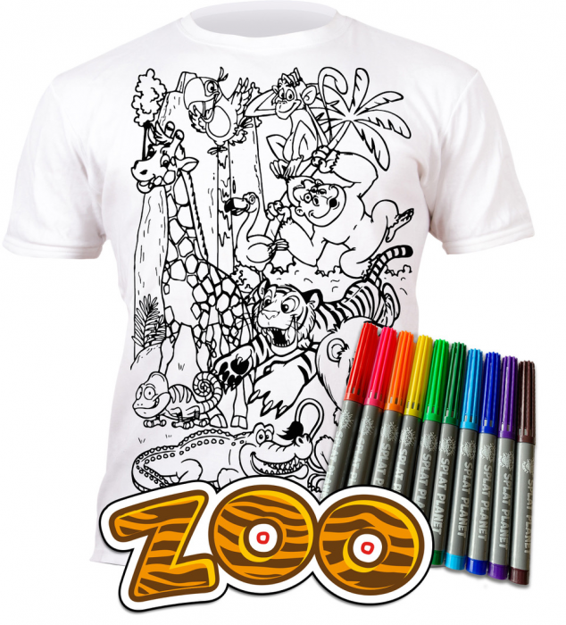 Tricou de colorat cu markere lavabile Zoo 0