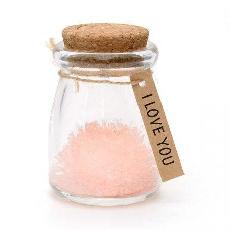 Floare din cristale roz - I love you0