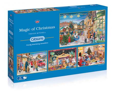Set 4 puzzle x 500 piese - Scene de Craciun0
