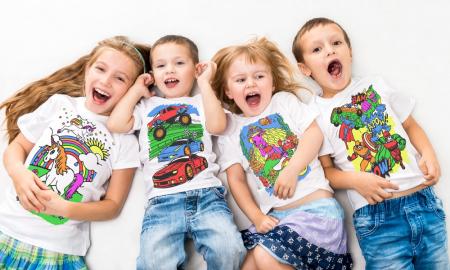 Tricou de colorat cu markere lavabile Dinozauri3