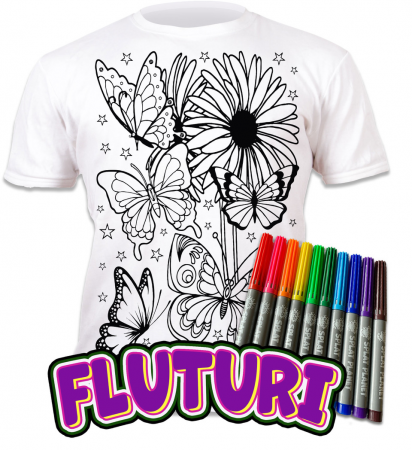 Tricou de colorat cu markere lavabile Fluturi0
