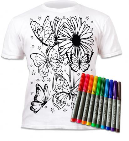 Tricou de colorat cu markere lavabile Fluturi1